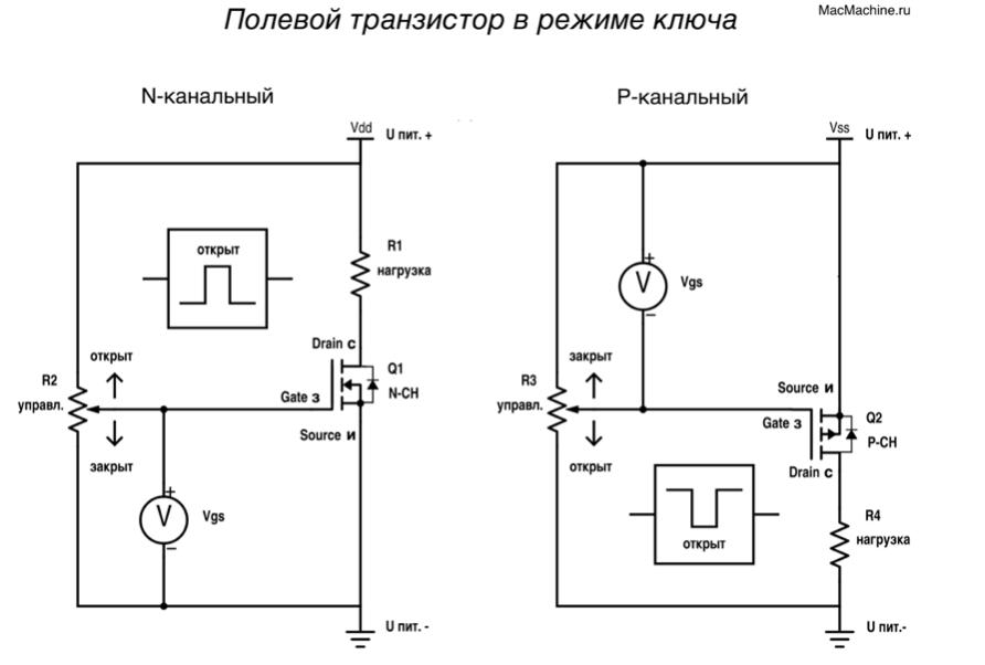 Схемы ключевых схем на фотопрерывателя