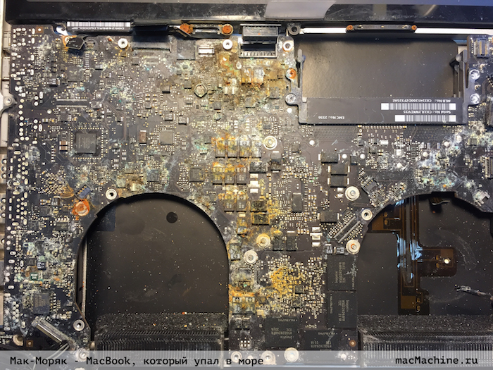 MacBook упал в воду